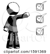 Ink Clergy Man Standing By List Of Checkmarks