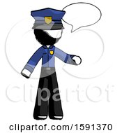 Ink Police Man With Word Bubble Talking Chat Icon