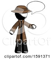 Ink Detective Man With Word Bubble Talking Chat Icon