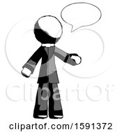 Ink Clergy Man With Word Bubble Talking Chat Icon