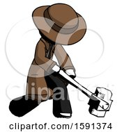 Ink Detective Man Hitting With Sledgehammer Or Smashing Something At Angle
