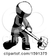 Ink Clergy Man Hitting With Sledgehammer Or Smashing Something At Angle