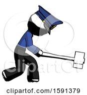 Ink Police Man Hitting With Sledgehammer Or Smashing Something