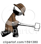 Ink Detective Man Hitting With Sledgehammer Or Smashing Something