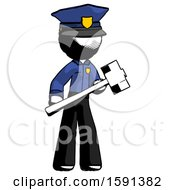 Ink Police Man With Sledgehammer Standing Ready To Work Or Defend
