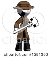Ink Detective Man With Sledgehammer Standing Ready To Work Or Defend