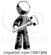 Ink Clergy Man With Sledgehammer Standing Ready To Work Or Defend