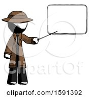 Ink Detective Man Giving Presentation In Front Of Dry Erase Board