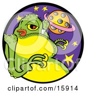 Green Alien With One Big Tooth Licking His Lips With A View Of A Planet Clipart Illustration