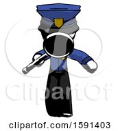 Ink Police Man Looking Down Through Magnifying Glass