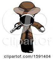 Ink Detective Man Looking Down Through Magnifying Glass