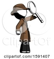 Ink Detective Man Inspecting With Large Magnifying Glass Facing Up