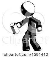 Ink Clergy Man Begger Holding Can Begging Or Asking For Charity Facing Left