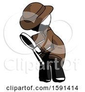 Ink Detective Man Inspecting With Large Magnifying Glass Left