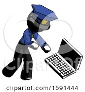 Ink Police Man Throwing Laptop Computer In Frustration