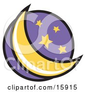 Crescent Moon And Stars In The Night Sky Clipart Illustration