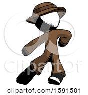 Ink Detective Man Karate Defense Pose Left