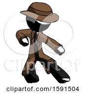 Ink Detective Man Karate Defense Pose Right