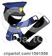 Ink Police Man Flying Ninja Kick Right