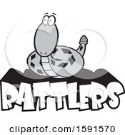 Clipart Of A Grayscale Rattle Snake Mascot Over Rattlers Text Royalty Free Vector Illustration