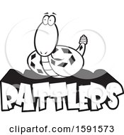 Clipart Of A Black And White Rattle Snake Mascot Over Rattlers Text Royalty Free Vector Illustration