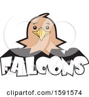 Clipart Of A Falcon Mascot Head Over Text Royalty Free Vector Illustration