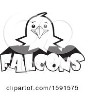 Clipart Of A Black And White Falcon Mascot Head Over Text Royalty Free Vector Illustration