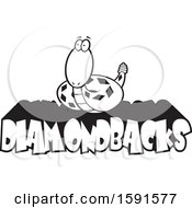 Clipart Of A Black And White Diamondback Snake Mascot Over Text Royalty Free Vector Illustration
