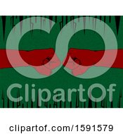 Clipart Of Red Fisted Hands Bumping Over A Green And Black Background Royalty Free Vector Illustration
