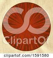 Textured Vintage Brown Crispy Paper With Red Circular Border And Tribal Design
