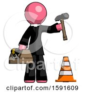 Pink Clergy Man Under Construction Concept Traffic Cone And Tools