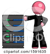 Pink Clergy Man With Server Rack Leaning Confidently Against It