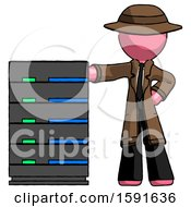 Pink Detective Man With Server Rack Leaning Confidently Against It