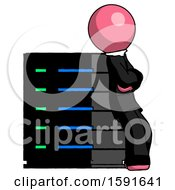 Pink Clergy Man Resting Against Server Rack Viewed At Angle