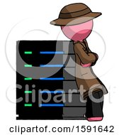 Pink Detective Man Resting Against Server Rack Viewed At Angle