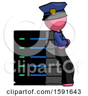 Pink Police Man Resting Against Server Rack Viewed At Angle