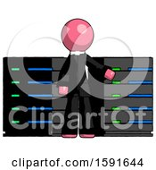 Pink Clergy Man With Server Racks In Front Of Two Networked Systems
