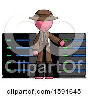Pink Detective Man With Server Racks In Front Of Two Networked Systems