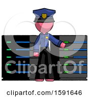 Pink Police Man With Server Racks In Front Of Two Networked Systems