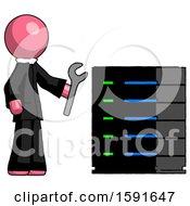 Pink Clergy Man Server Administrator Doing Repairs