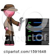 Pink Detective Man Server Administrator Doing Repairs