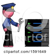 Pink Police Man Server Administrator Doing Repairs