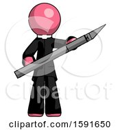 Pink Clergy Man Holding Large Scalpel