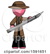 Pink Detective Man Holding Large Scalpel