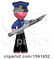 Pink Police Man Holding Large Scalpel