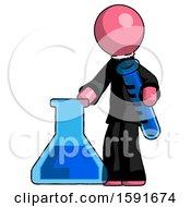 Pink Clergy Man Holding Test Tube Beside Beaker Or Flask