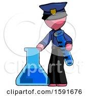 Pink Police Man Holding Test Tube Beside Beaker Or Flask