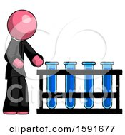 Pink Clergy Man Using Test Tubes Or Vials On Rack