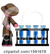 Pink Detective Man Using Test Tubes Or Vials On Rack
