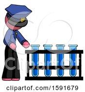 Pink Police Man Using Test Tubes Or Vials On Rack